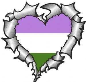 Ripped Torn Metal Heart with LGBT Genderqueer Pride Flag Motif External Car Sticker 105x100mm
